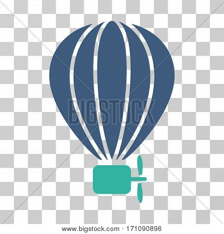 Aerostat Balloon icon. Vector illustration style is flat iconic bicolor symbol cobalt and cyan colors transparent background. Designed for web and software interfaces.