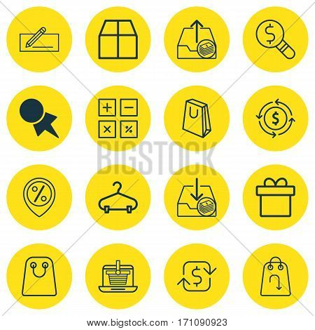 Set Of 16 E-Commerce Icons. Includes Calculation Tool, Recurring Payements, Tote Bag And Other Symbols. Beautiful Design Elements.