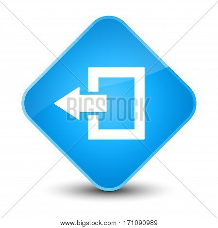 Logout Icon Special Cyan Blue Diamond Button