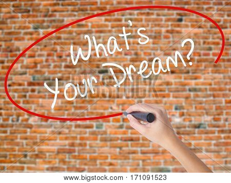 Woman Hand Writing What's Your Dream? With Black Marker On Visual Screen