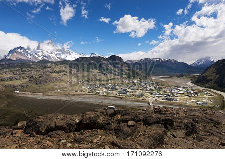 View of the village of El Chaltén and the surrounding mountains in Argentina South America