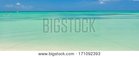 Caribbean sea on Aruba island. View from the beach