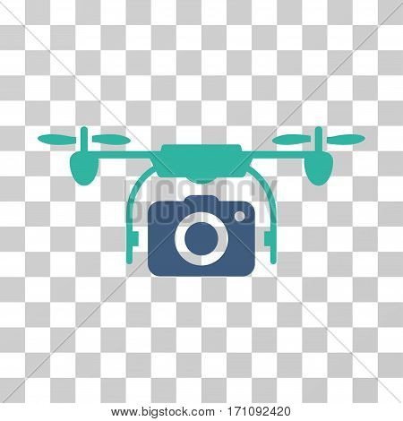 Camera Drone icon. Vector illustration style is flat iconic bicolor symbol cobalt and cyan colors transparent background. Designed for web and software interfaces.