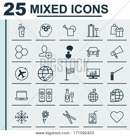 Set Of 25 Universal Editable Icons. Can Be Used For Web, Mobile And App Design. Includes Elements Such As Roadblock, Insert Person, Shopping And More.
