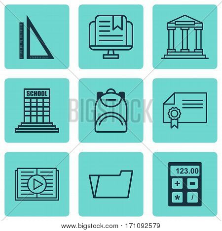 Set Of 9 School Icons. Includes Diploma, Document Case, Academy And Other Symbols. Beautiful Design Elements.