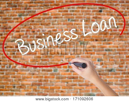 Woman Hand Writing Business Loan With Black Marker On Visual Screen
