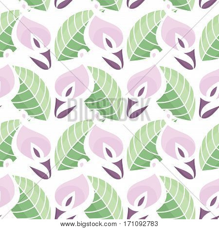 Colorful Vector Seamless Pattern with Calla Lilies Flowers