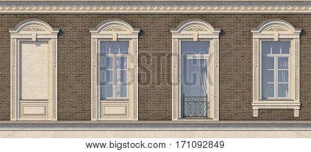 Framing of windows in classic style on the brick wall of brown color and French balcony. 3d rendering.