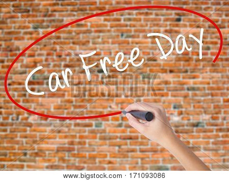Woman Hand Writing Car Free Day With Black Marker On Visual Screen