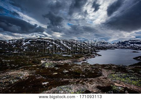 One Autumn Day With Snow On The Mountain Peaks On The Hardangervidda