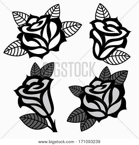 Set of  four black roses templates designs.