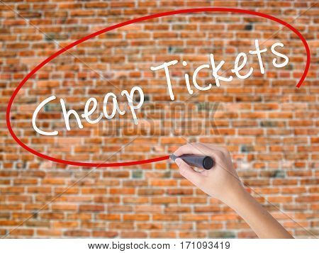 Woman Hand Writing Cheap Tickets With Black Marker On Visual Screen