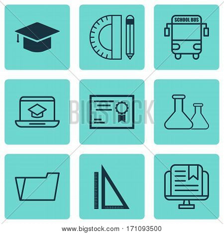 Set Of 9 School Icons. Includes Chemical, Graduation, Document Case And Other Symbols. Beautiful Design Elements.