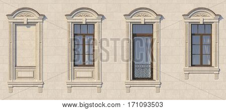 Framing of windows in classic style on the stone with balcony. 3d rendering.
