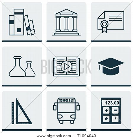 Set Of 9 Education Icons. Includes Taped Book, Electronic Tool, Diploma And Other Symbols. Beautiful Design Elements.