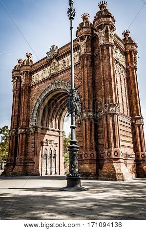 Triumphal arch in barcelona spain summer and no people