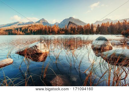 Fantastic Shtrbske Pleso High Tatras. Slovakia Europe.