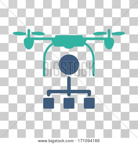 Drone Distribution icon. Vector illustration style is flat iconic bicolor symbol cobalt and cyan colors transparent background. Designed for web and software interfaces.