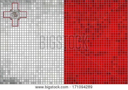 Mosaic Flag of Malta with effect - 3D illustration,  Grunge mosaic Maltese flag
