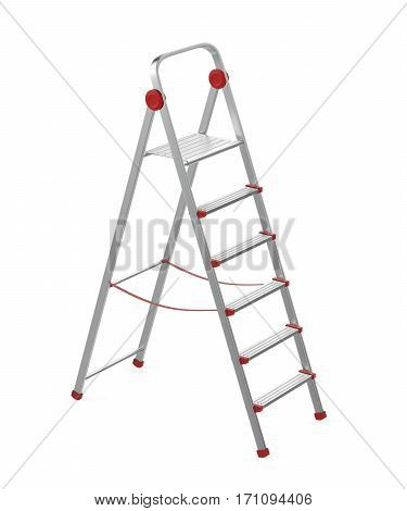 Aluminum step ladder on white background, 3D illustration
