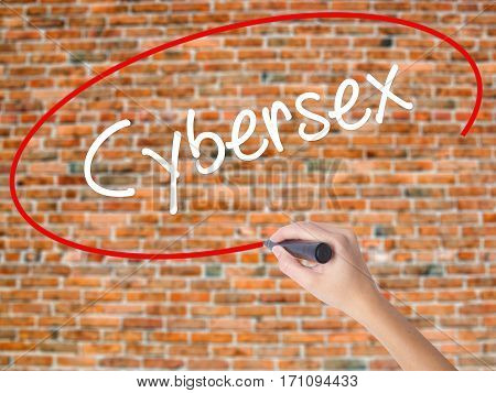 Woman Hand Writing Cybersex  With Black Marker On Visual Screen