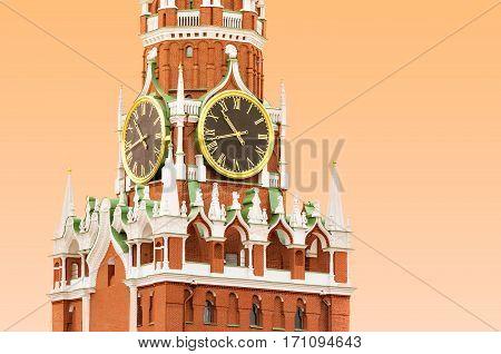 Kremlin clock on the Spasskaya (Saviour) Tower in Moscow Russia