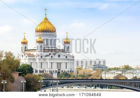 Cathedral of Christ the Saviour in Moscow with Patriarshy Bridge on the foreground