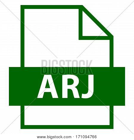 . Filename extension icon ARJ Archived by Robert Jung in flat style. Quick and easy recolorable shape. Vector illustration a graphic element.