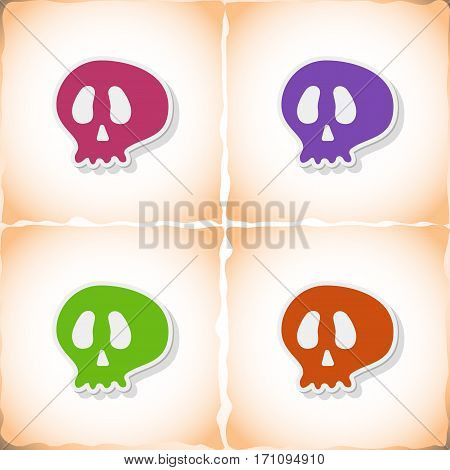 Skull. Flat sticker with shadow on old paper. Vector illustration