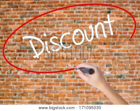 Woman Hand Writing Discount With Black Marker On Visual Screen