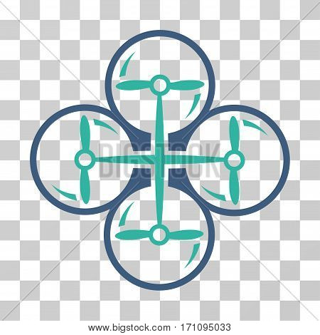 Drone Screws icon. Vector illustration style is flat iconic bicolor symbol cobalt and cyan colors transparent background. Designed for web and software interfaces.
