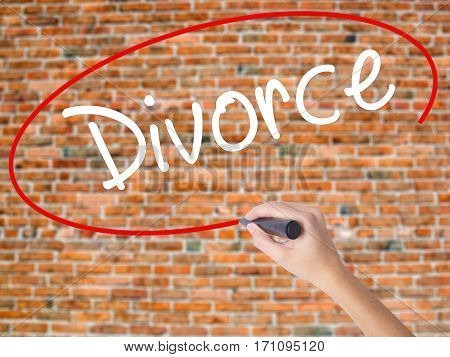 Woman Hand Writing Divorce  With Black Marker On Visual Screen