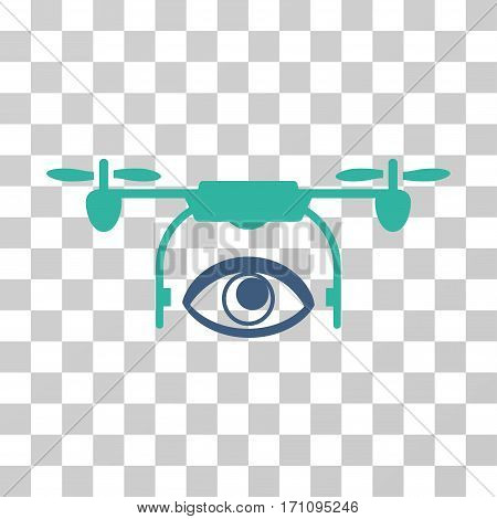 Eye Spy Drone icon. Vector illustration style is flat iconic bicolor symbol cobalt and cyan colors transparent background. Designed for web and software interfaces.