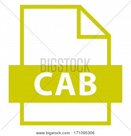 . Filename extension icon CAB Cabinet in flat style. Quick and easy recolorable shape. Vector illustration a graphic element.