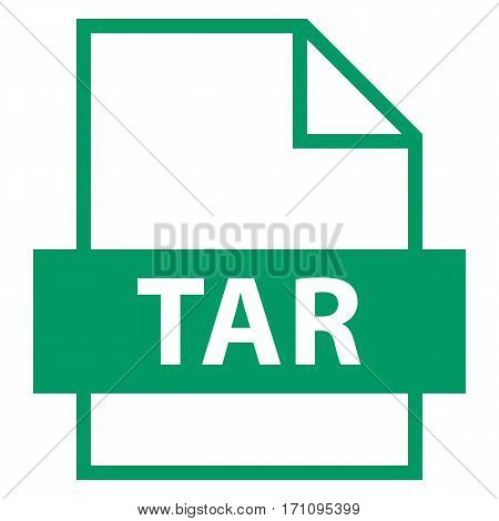 Filename extension icon TAR tape archive in flat style. Quick and easy recolorable shape. Vector illustration a graphic element.