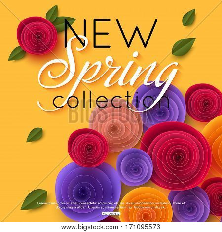 Spring background with paper flowers for fashion magazine, seasonal sales, promotions. Vector illustration.