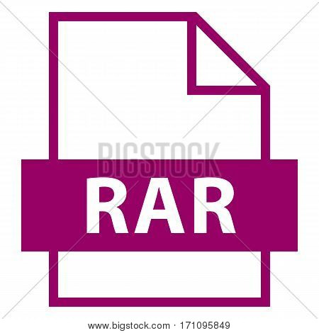 Filename extension icon RAR Roshal Archive in flat style. Quick and easy recolorable shape. Vector illustration a graphic element.