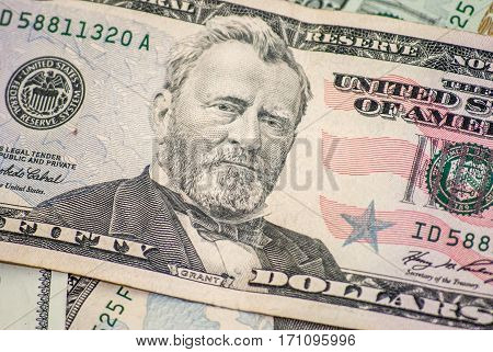 Fifty dollar macro president Grant portrait colse Up