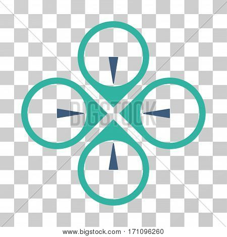 Fly Drone icon. Vector illustration style is flat iconic bicolor symbol cobalt and cyan colors transparent background. Designed for web and software interfaces.