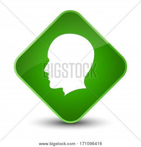 Head Male Face Icon Special Green Diamond Button