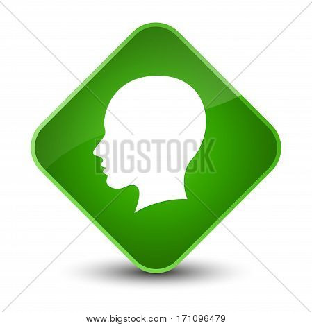 Head Female Face Icon Special Green Diamond Button