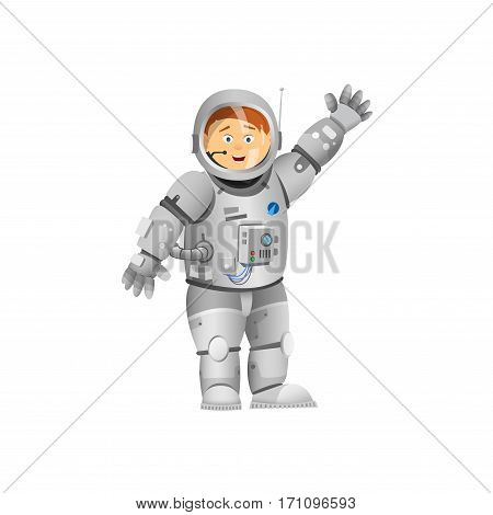 Astronaut rejoices. Astronaft with his hand raised. Vector illustration.