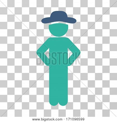Gentleman Akimbo icon. Vector illustration style is flat iconic bicolor symbol cobalt and cyan colors transparent background. Designed for web and software interfaces.