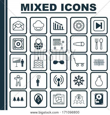 Set Of 25 Universal Editable Icons. Can Be Used For Web, Mobile And App Design. Includes Elements Such As Doughnut, Planning, Pin Earth And More.