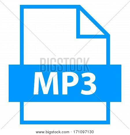 Use it in all your designs. Filename extension icon MP3 MPEG Audio Layer III in flat style. Quick and easy recolorable shape. Vector illustration a graphic element.