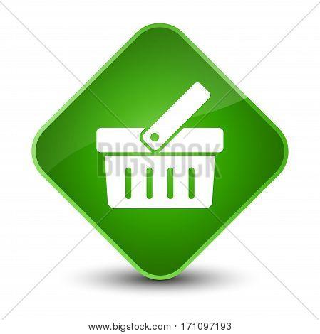 Shopping Cart Icon Special Green Diamond Button