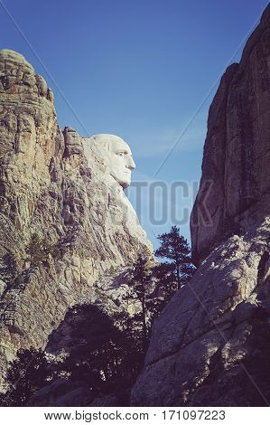 Color Tone Side View Of George Washington At Mount Rushmore National Monument.