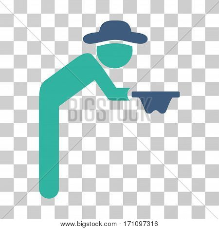 Gentleman Beggar icon. Vector illustration style is flat iconic bicolor symbol cobalt and cyan colors transparent background. Designed for web and software interfaces.