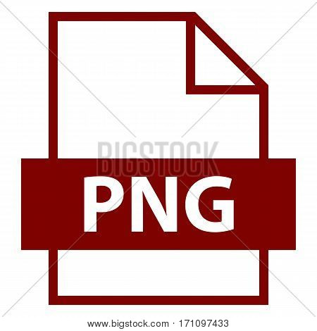 Use it in all your designs. Filename extension icon PNG Portable Network Graphics in flat style. Quick and easy recolorable shape. Vector illustration a graphic element.