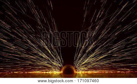 fire explosion sparks of welding metallurgy 3D illustration